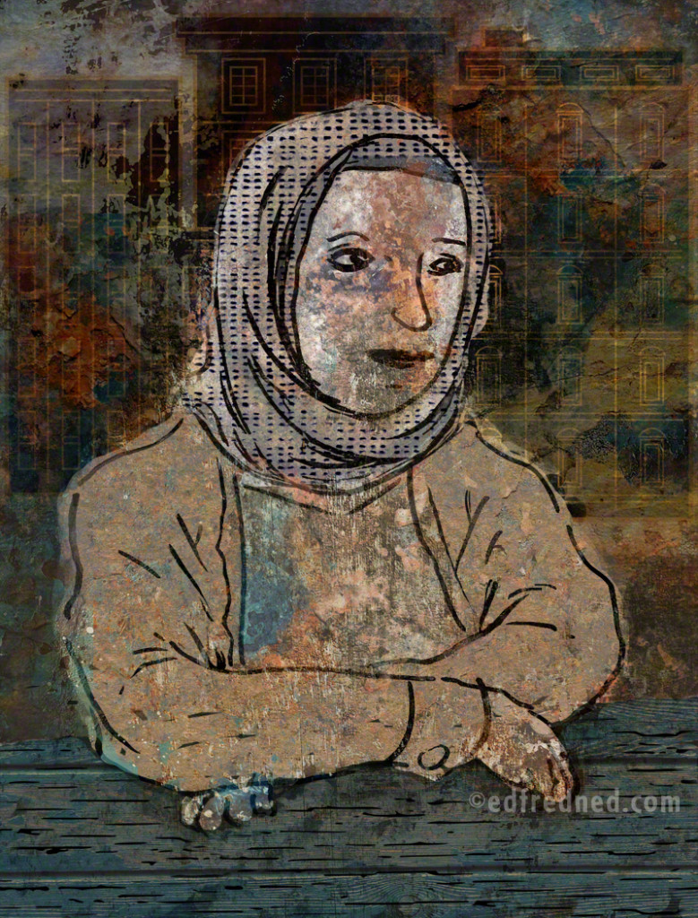 Painted Portrait of Arab Woman