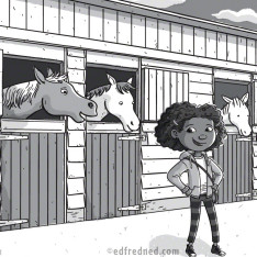 horse and girl chapter book illustration