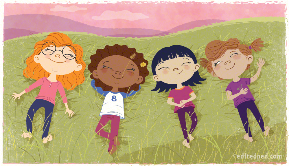 picture book- girls in the grass