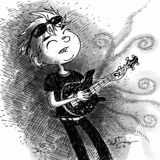 guitar boy illustration