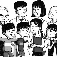 Asian Family black and white illustration