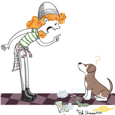 Girl and dog illustration