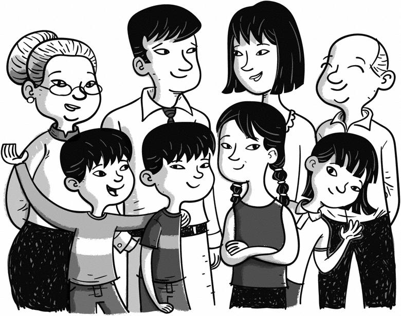 Asian Family black and white illustration