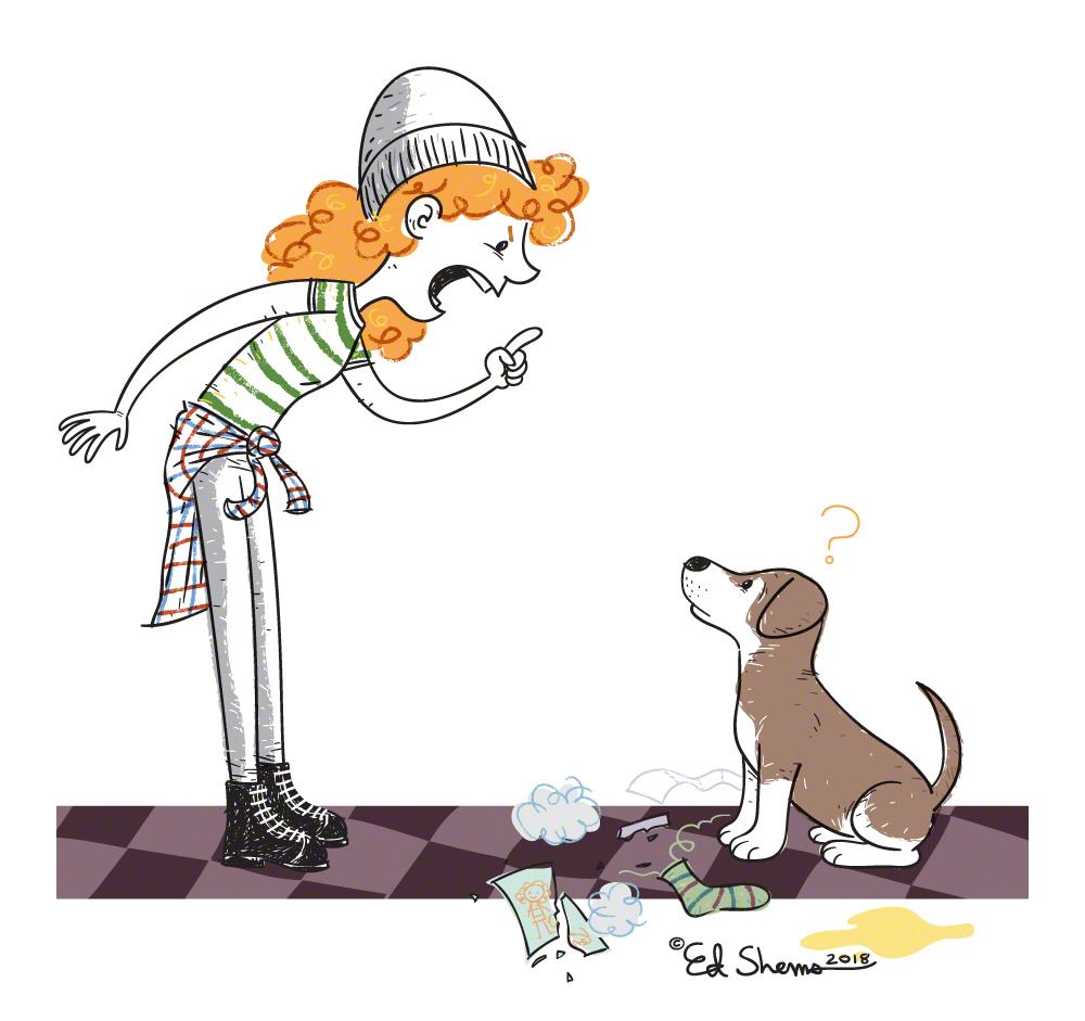 Girl and dog illustration