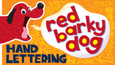 Red Barky Dog Hand Lettering